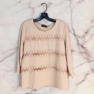 Karl Lagerfeld Pink Crochet Ribbed Top